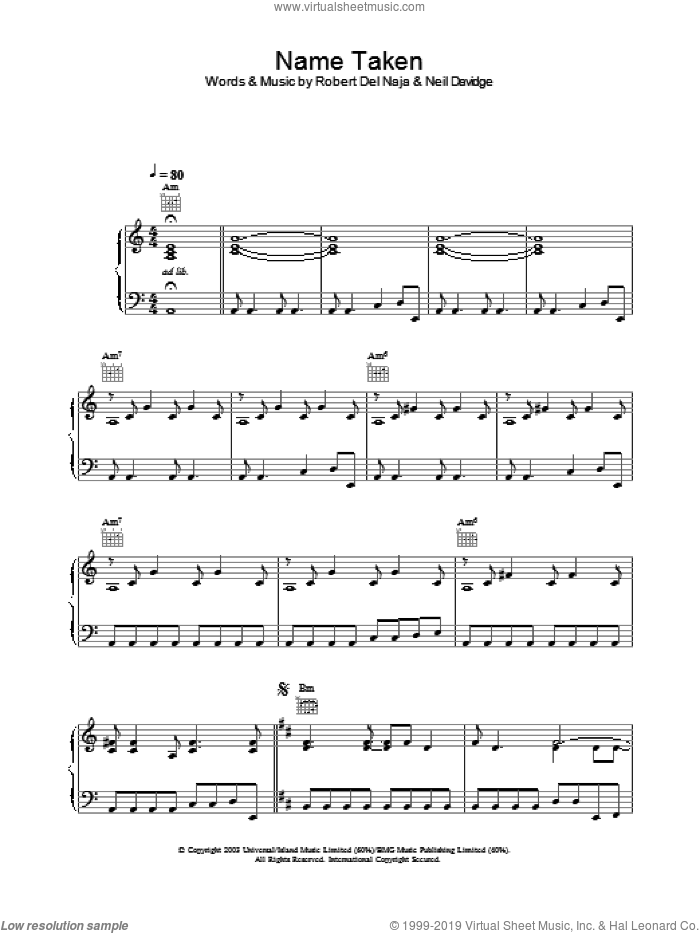 Name Taken sheet music for voice, piano or guitar by Massive Attack