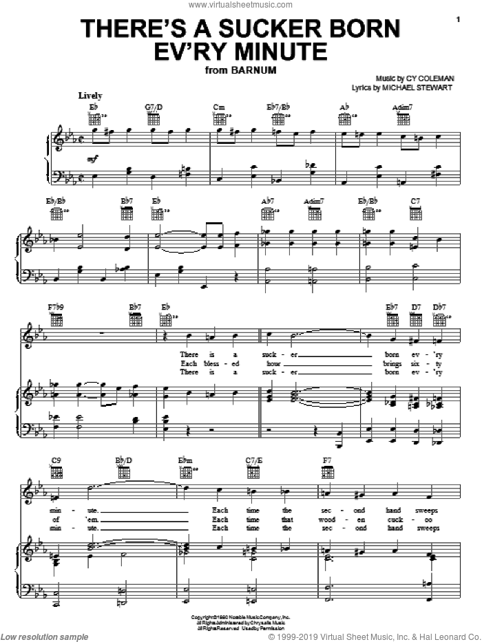 There's A Sucker Born Ev'ry Minute sheet music for voice, piano or guitar by Cy Coleman and Michael Stewart, intermediate. Score Image Preview.