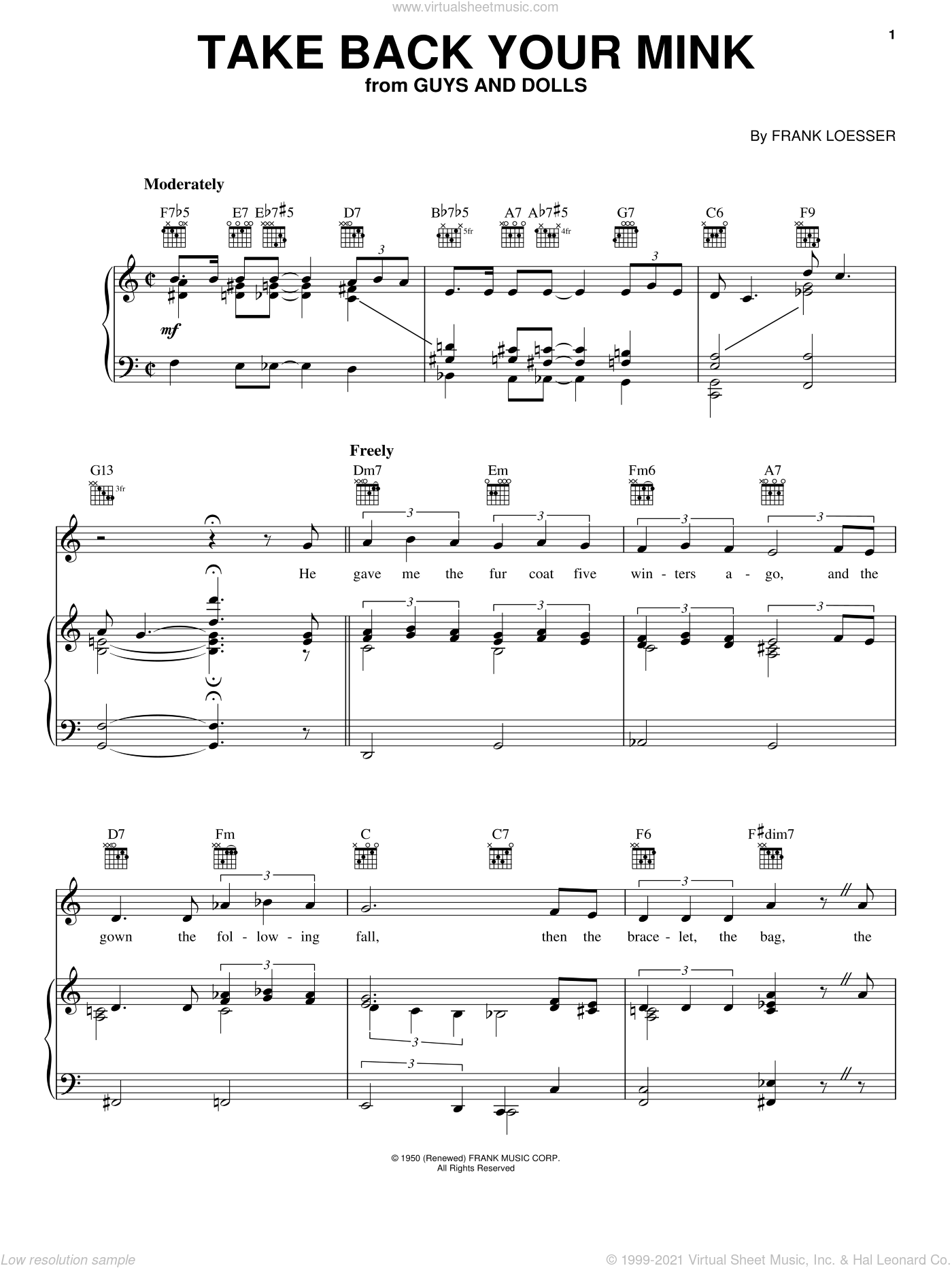 Take Back Your Mink sheet music for voice, piano or guitar by Frank Loesser and Guys And Dolls (Musical), intermediate skill level