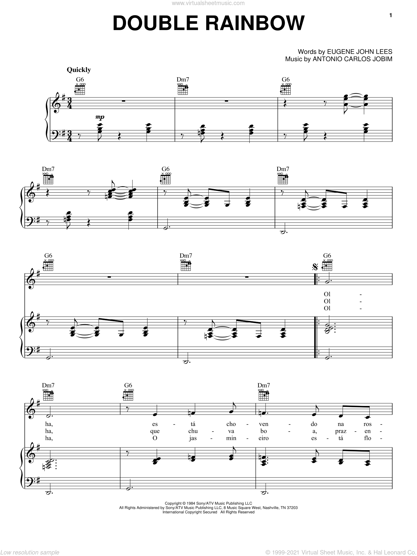 Double Rainbow sheet music for voice, piano or guitar by Antonio Carlos Jobim and Eugene John Lees, intermediate skill level