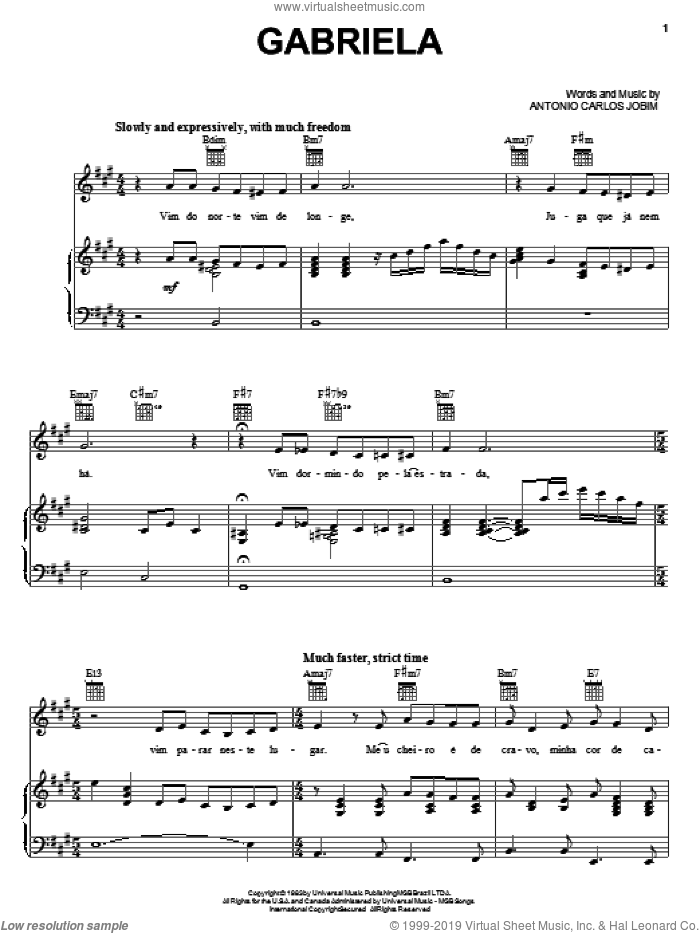 Gabriela sheet music for voice, piano or guitar by Antonio Carlos Jobim, intermediate skill level