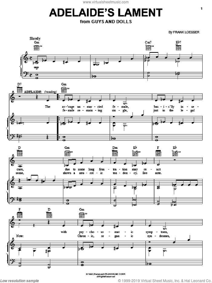 Adelaide's Lament (from Guys And Dolls) sheet music for voice, piano or guitar by Frank Loesser and Guys And Dolls (Musical), intermediate skill level