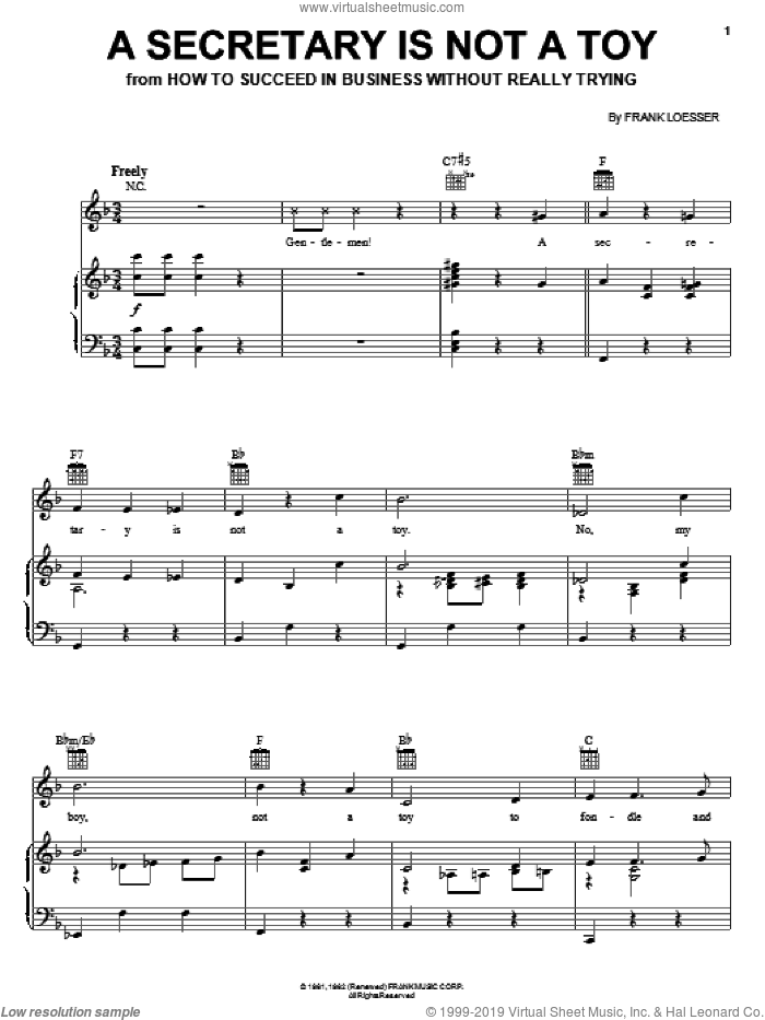 A Secretary Is Not A Toy sheet music for voice, piano or guitar by Frank Loesser, intermediate skill level