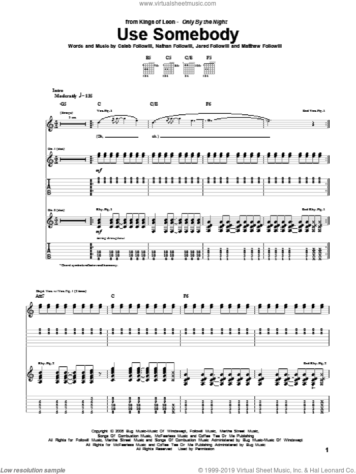 Use Somebody sheet music for guitar (tablature) by Kings Of Leon, intermediate. Score Image Preview.