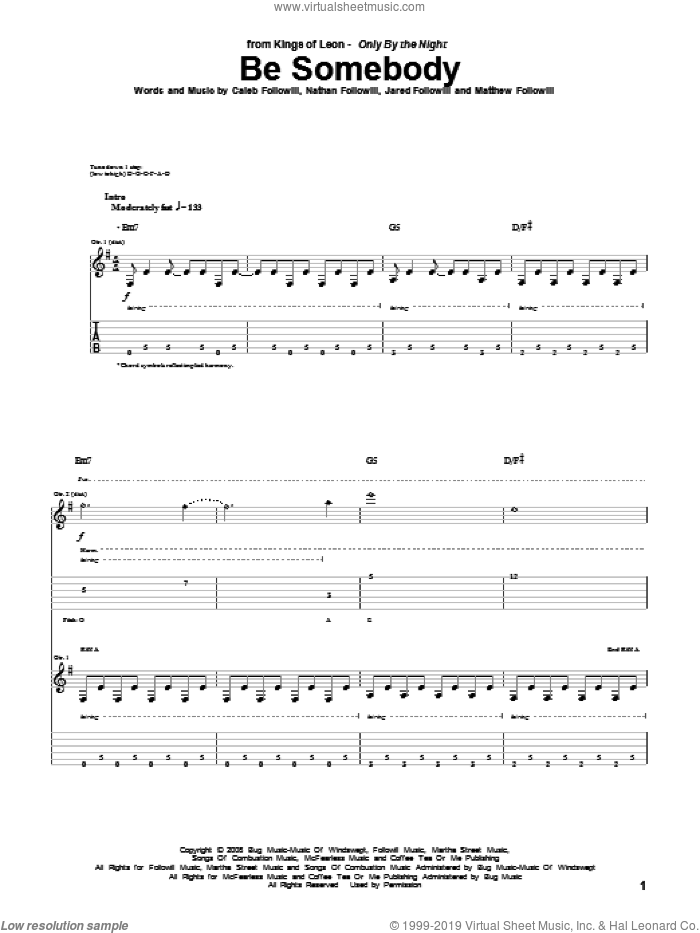 Be Somebody sheet music for guitar (tablature) by Nathan Followill