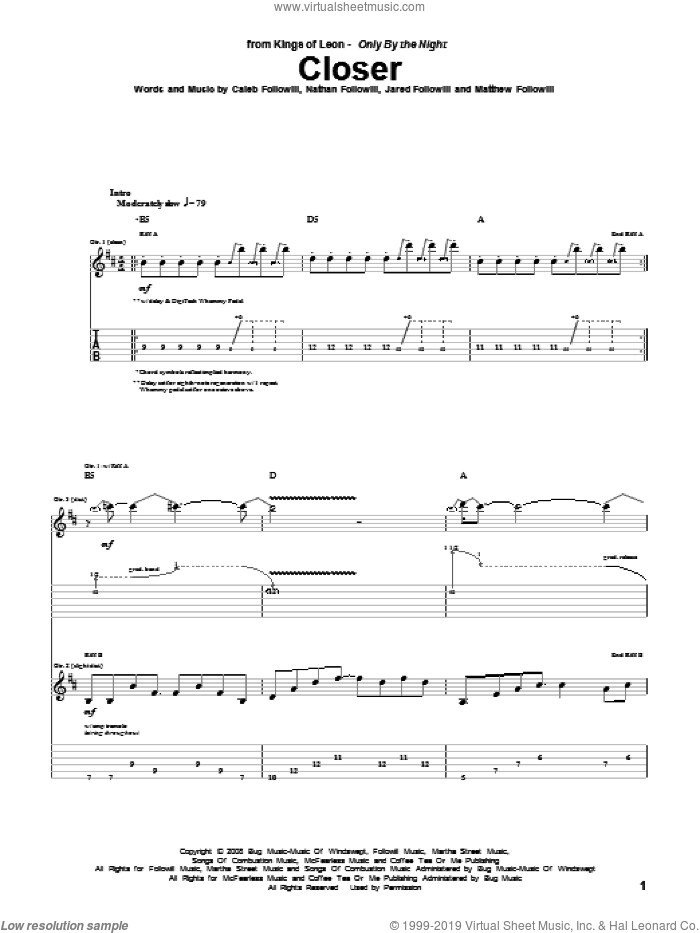 Closer sheet music for guitar (tablature) by Kings Of Leon. Score Image Preview.
