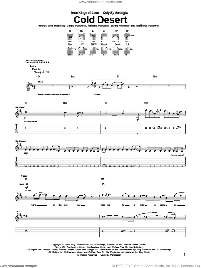 Cold Desert sheet music for guitar (tablature) by Nathan Followill, Kings Of Leon, Caleb Followill and Matthew Followill