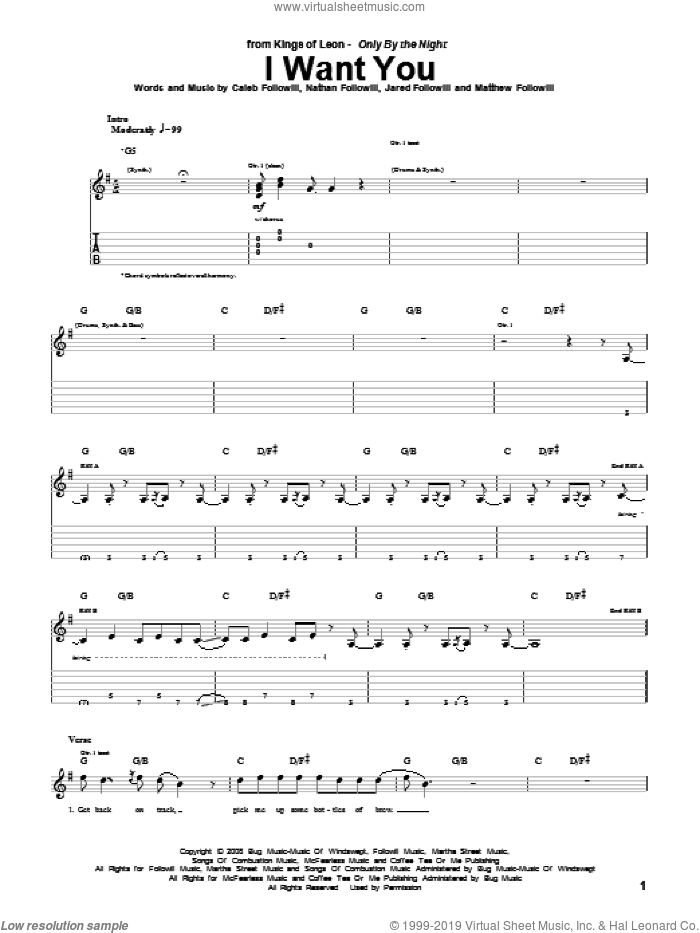 I Want You sheet music for guitar (tablature) by Nathan Followill, Kings Of Leon, Caleb Followill and Matthew Followill
