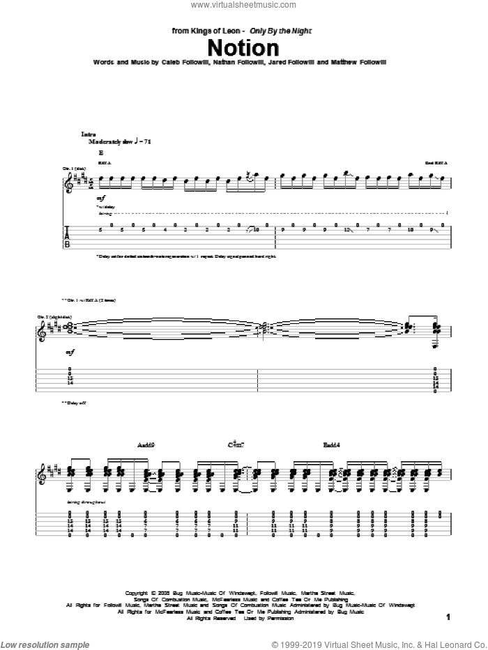 Notion sheet music for guitar (tablature) by Nathan Followill, Kings Of Leon, Caleb Followill and Matthew Followill. Score Image Preview.