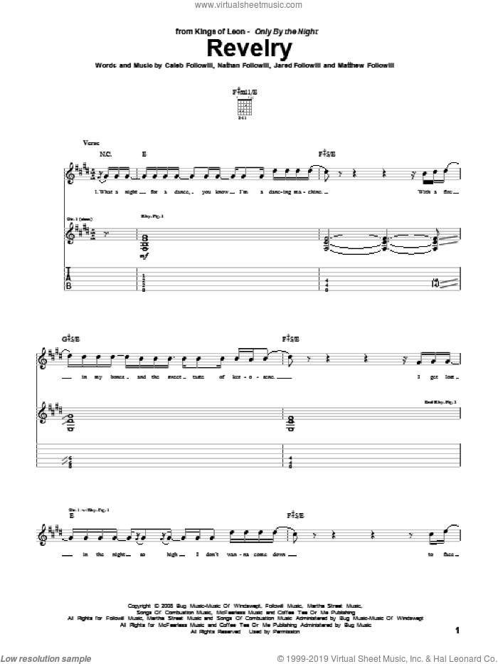 Revelry sheet music for guitar (tablature) by Nathan Followill, Kings Of Leon, Caleb Followill and Matthew Followill. Score Image Preview.