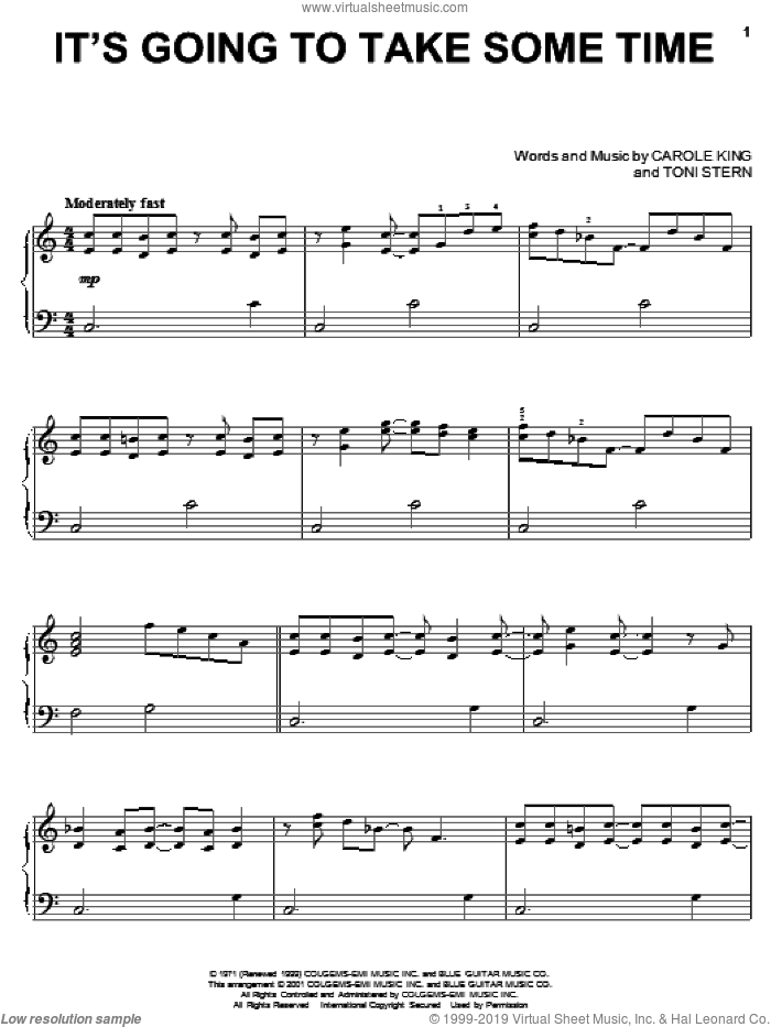 It's Going To Take Some Time sheet music for piano solo by Carpenters, Carole King and Toni Stern, intermediate
