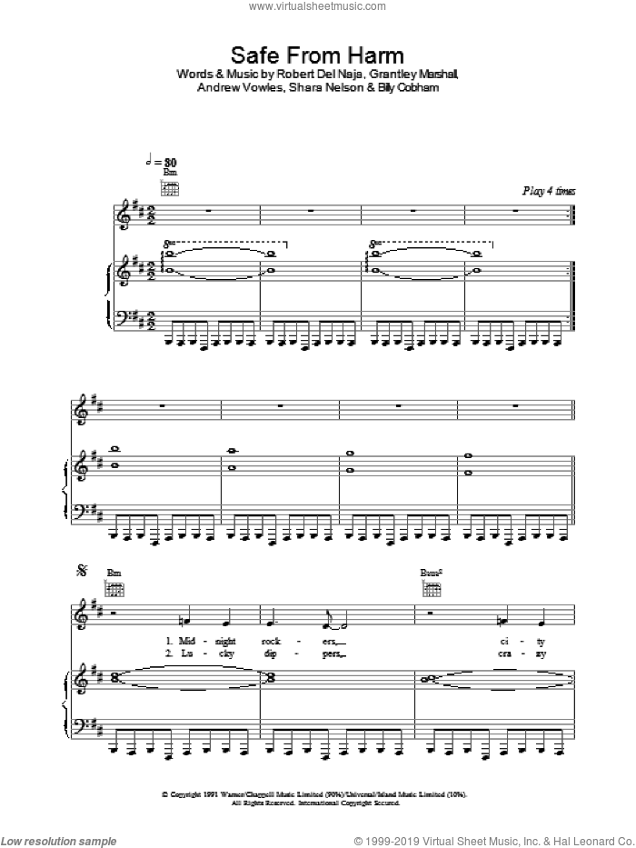 Safe From Harm sheet music for voice, piano or guitar by Massive Attack. Score Image Preview.