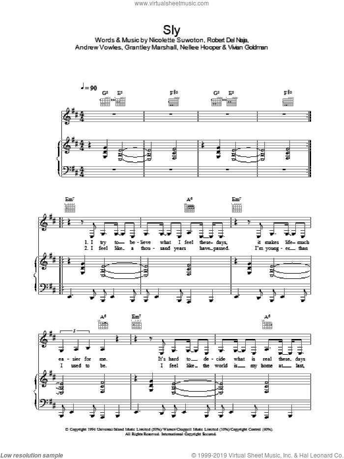 Sly sheet music for voice, piano or guitar by Massive Attack