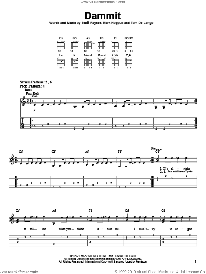 Dammit sheet music for guitar solo (easy tablature) by Tom DeLonge, Blink-182 and Mark Hoppus. Score Image Preview.