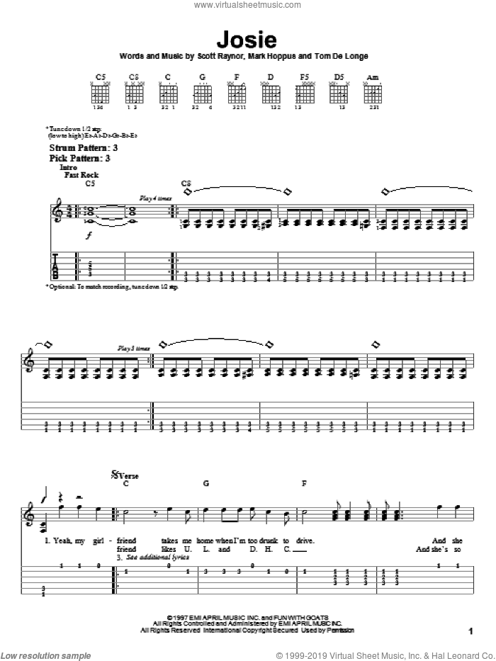 Josie sheet music for guitar solo (easy tablature) by Blink-182, Mark Hoppus, Scott Raynor and Tom DeLonge, easy guitar (easy tablature). Score Image Preview.