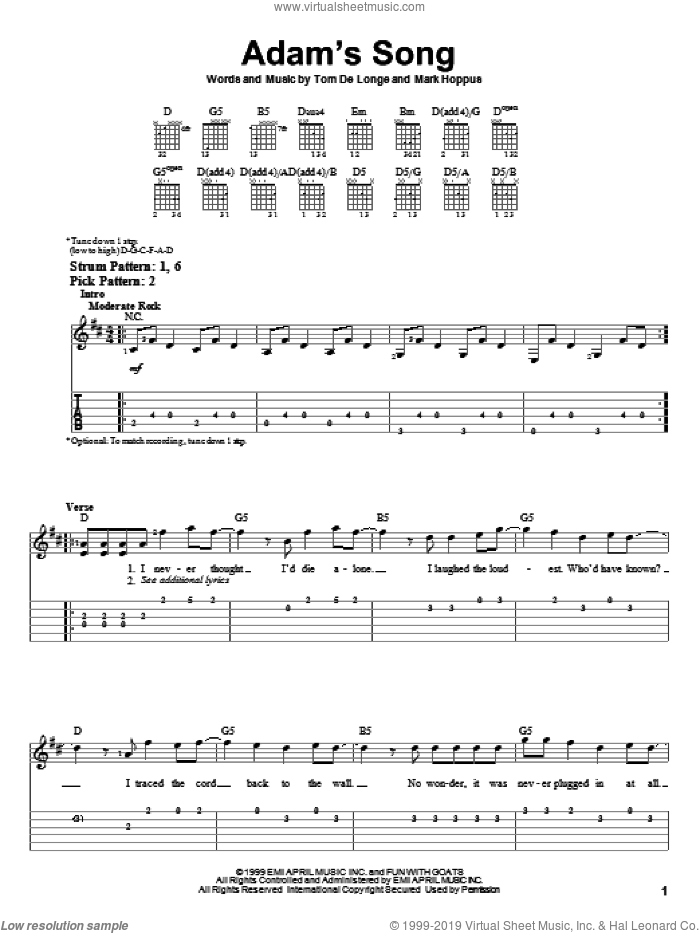 Adam's Song sheet music for guitar solo (easy tablature) by Blink-182, easy guitar (easy tablature). Score Image Preview.
