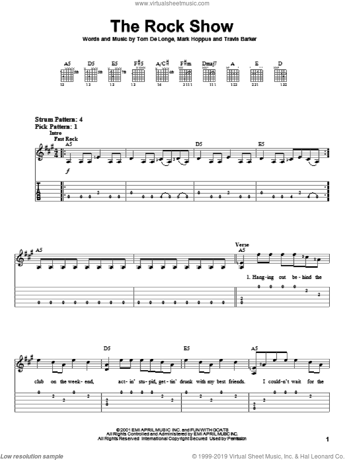 The Rock Show sheet music for guitar solo (easy tablature) by Blink-182, Mark Hoppus, Tom DeLonge and Travis Barker, easy guitar (easy tablature)