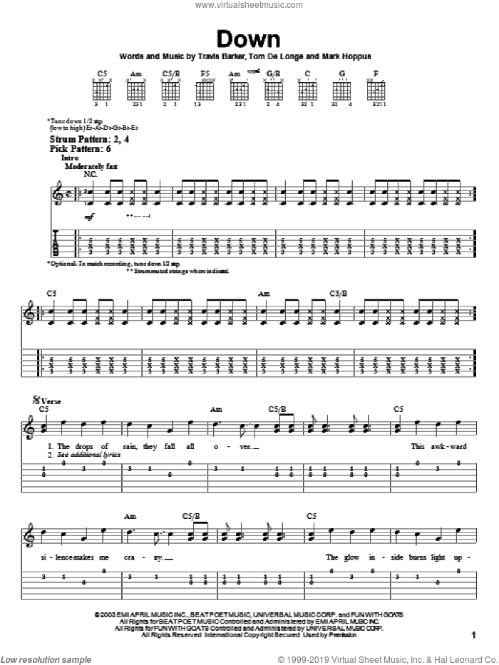 Down sheet music for guitar solo (easy tablature) by Travis Barker, Blink-182, Mark Hoppus and Tom DeLonge. Score Image Preview.