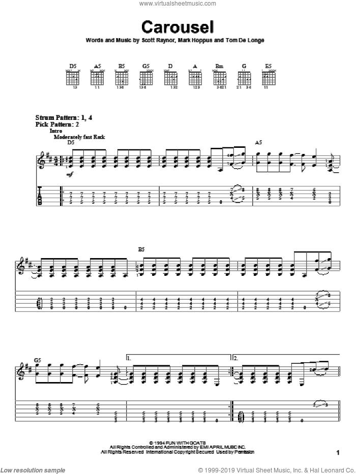 Carousel sheet music for guitar solo (easy tablature) by Blink-182, Mark Hoppus, Scott Raynor and Tom DeLonge, easy guitar (easy tablature)