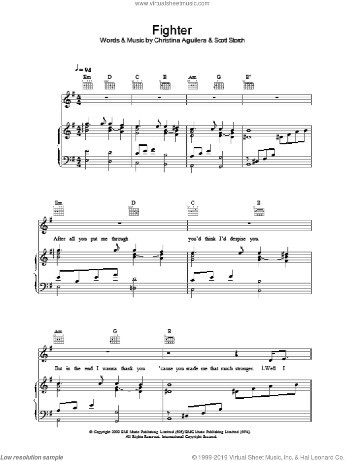 Fighter sheet music for voice, piano or guitar by Christina Aguilera