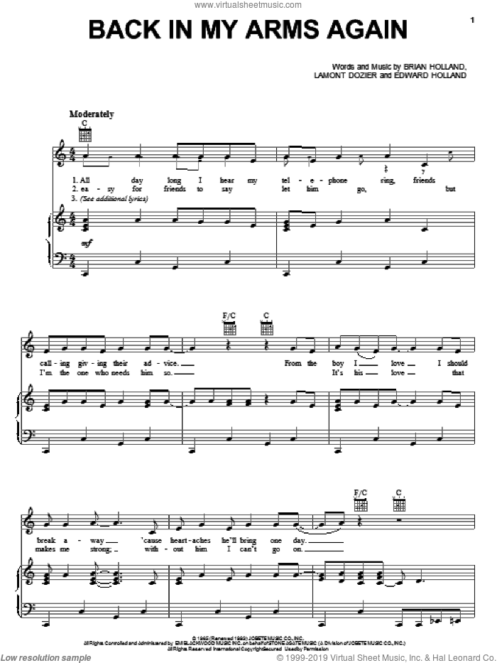 Back In My Arms Again sheet music for voice, piano or guitar by The Supremes, Brian Holland, Eddie Holland and Lamont Dozier, intermediate voice, piano or guitar. Score Image Preview.