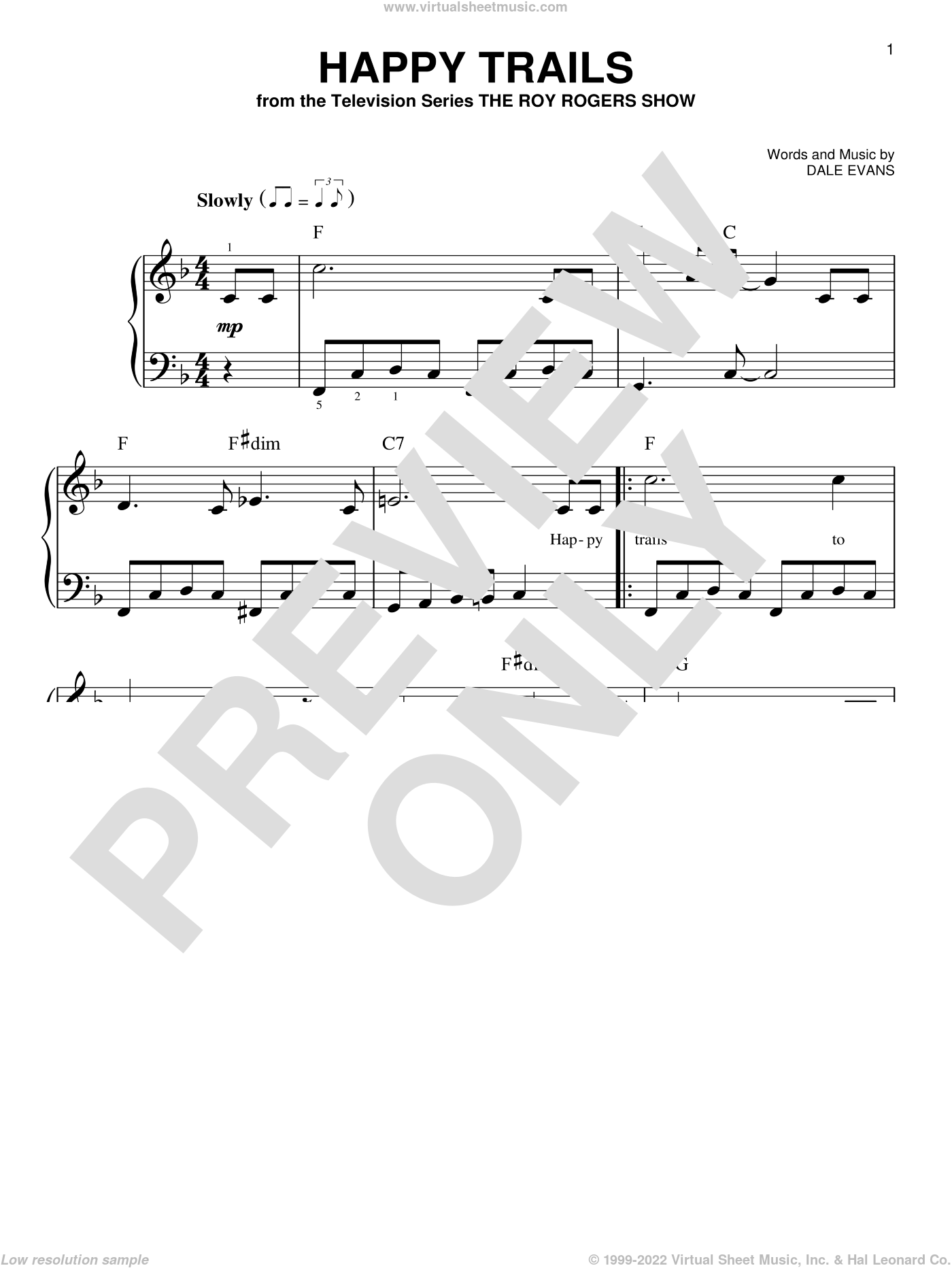 Happy Trails sheet music for piano solo by Roy Rogers and Dale Evans, beginner skill level