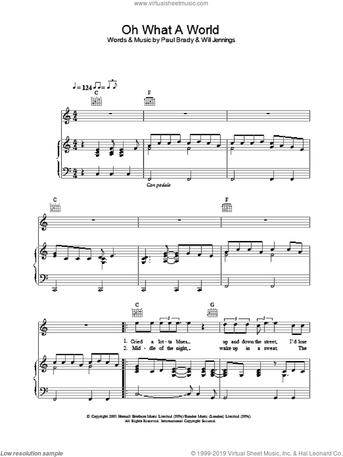 Oh What A World sheet music for voice, piano or guitar by Paul Brady, intermediate voice, piano or guitar. Score Image Preview.