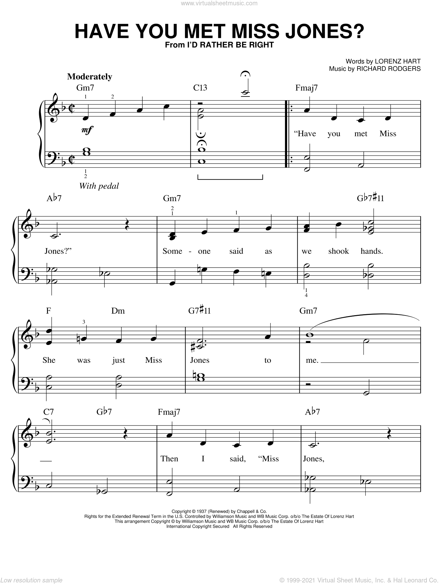 Have You Met Miss Jones?, (easy) sheet music for piano solo by Rodgers & Hart, Lorenz Hart and Richard Rodgers, easy
