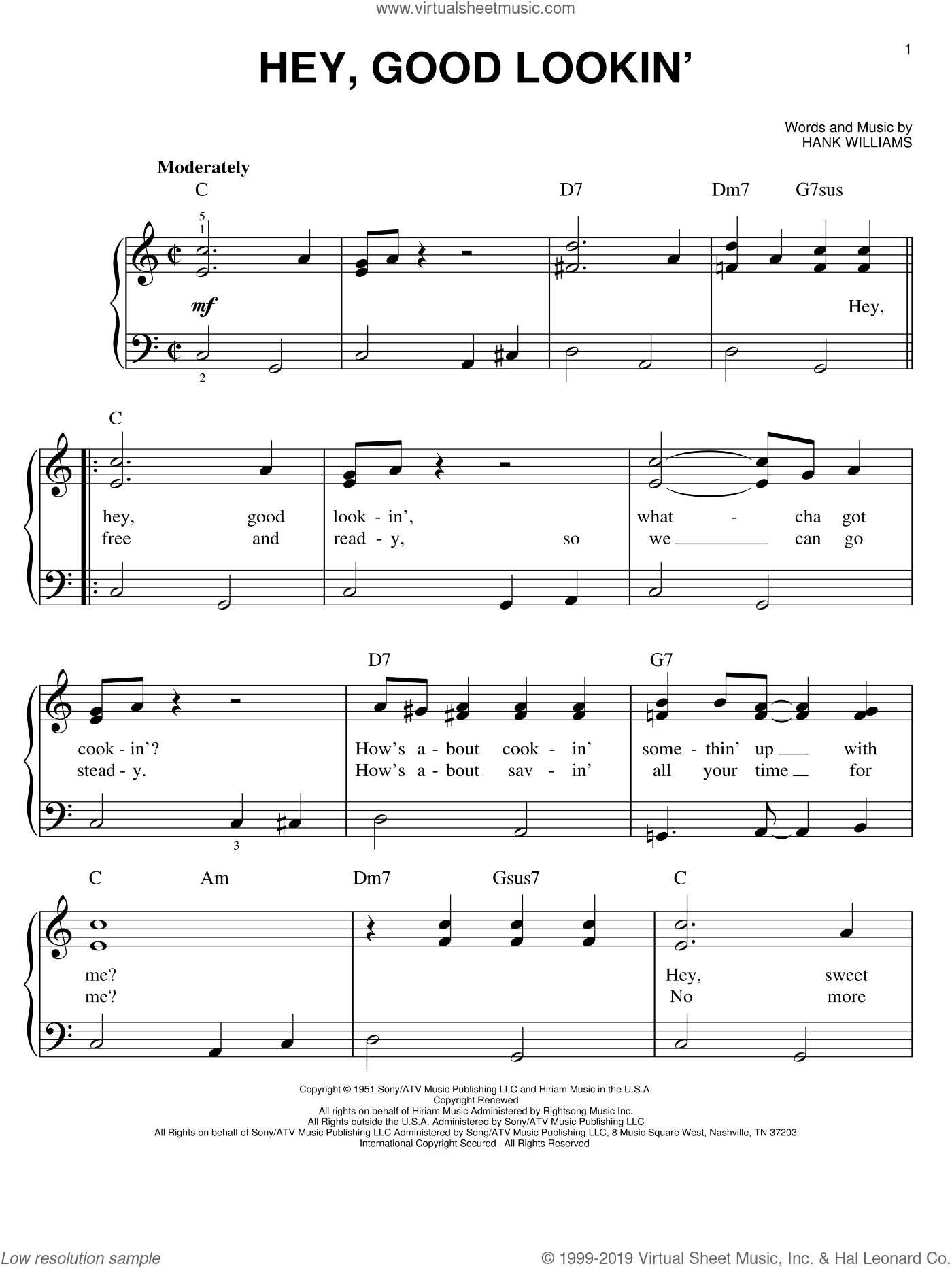 Hey, Good Lookin' sheet music for piano solo by Hank Williams, beginner skill level