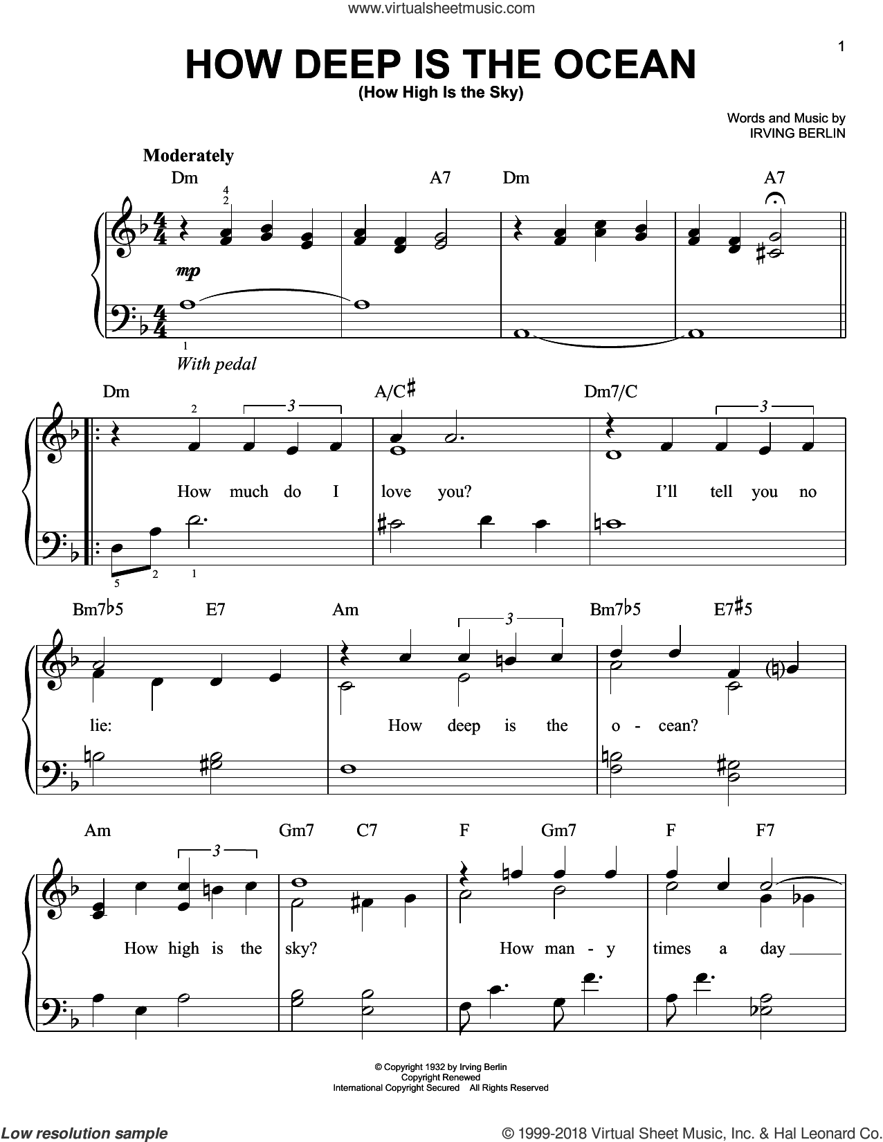 How Deep Is The Ocean (How High Is The Sky) sheet music for piano solo by Irving Berlin, wedding score, easy skill level