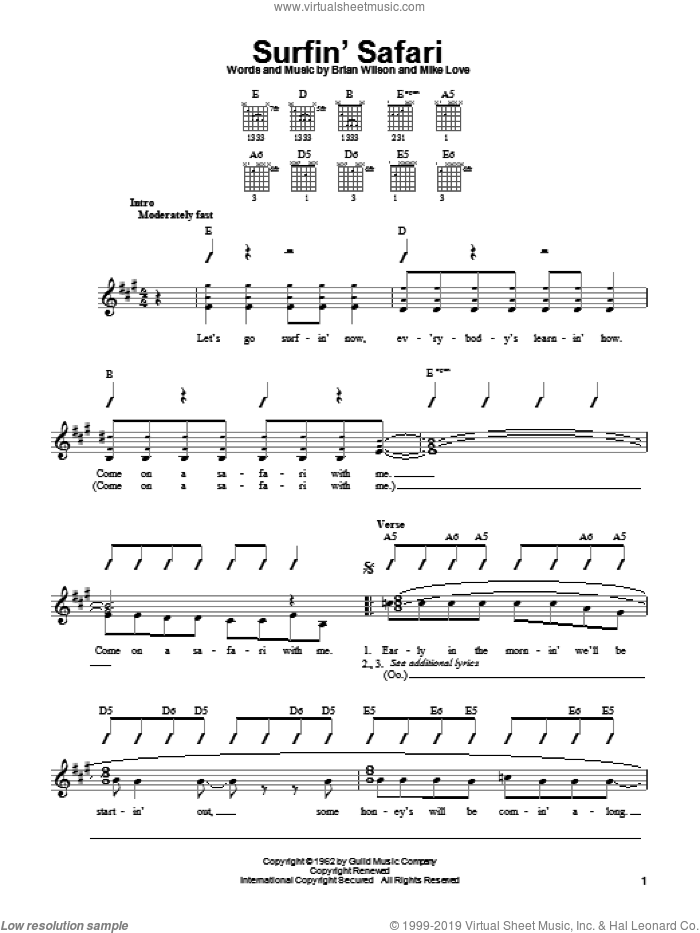 Surfin' Safari sheet music for guitar solo (chords) by The Beach Boys and Brian Wilson, easy guitar (chords). Score Image Preview.