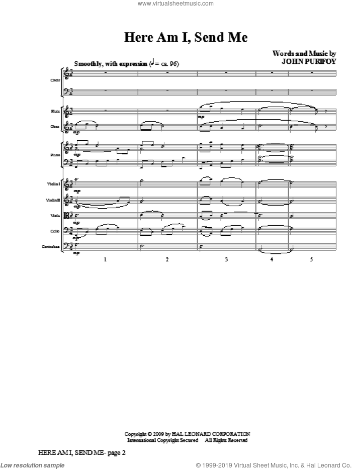 Here Am I, Send Me (COMPLETE) sheet music for orchestra/band by John Purifoy, intermediate skill level