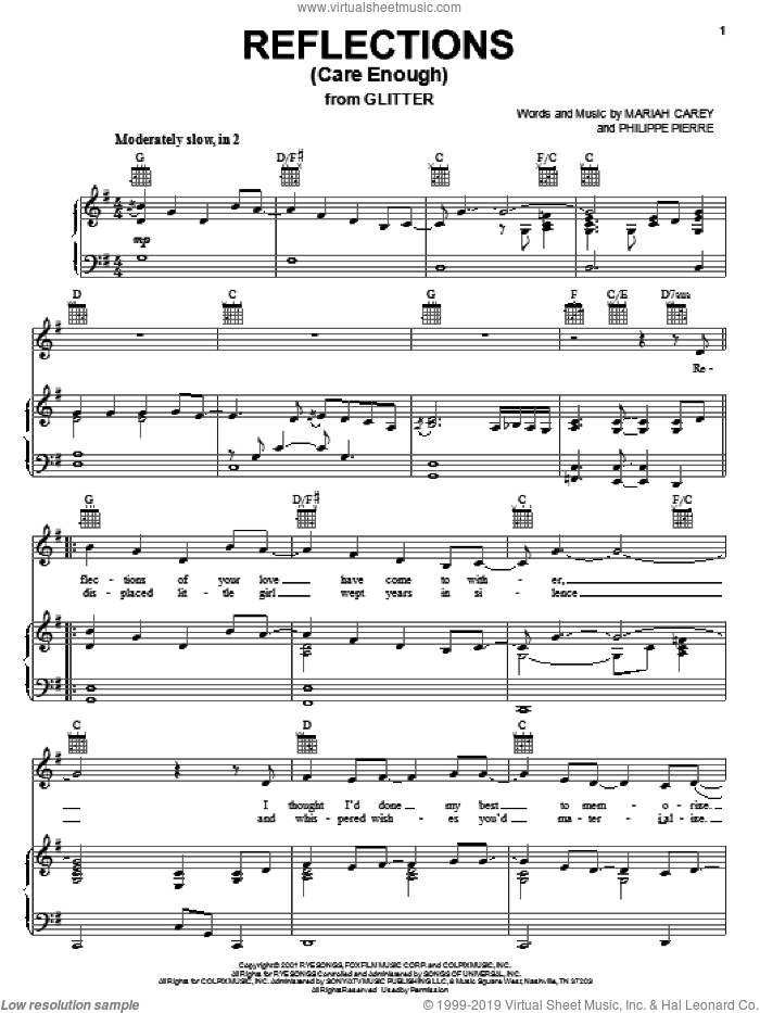Reflections (Care Enough) sheet music for voice, piano or guitar by Philippe Pierre