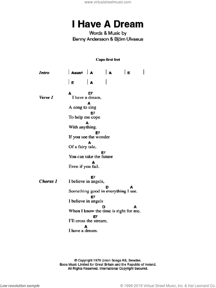 I Have A Dream sheet music for guitar (chords) by ABBA, Benny Andersson and Bjorn Ulvaeus, intermediate skill level