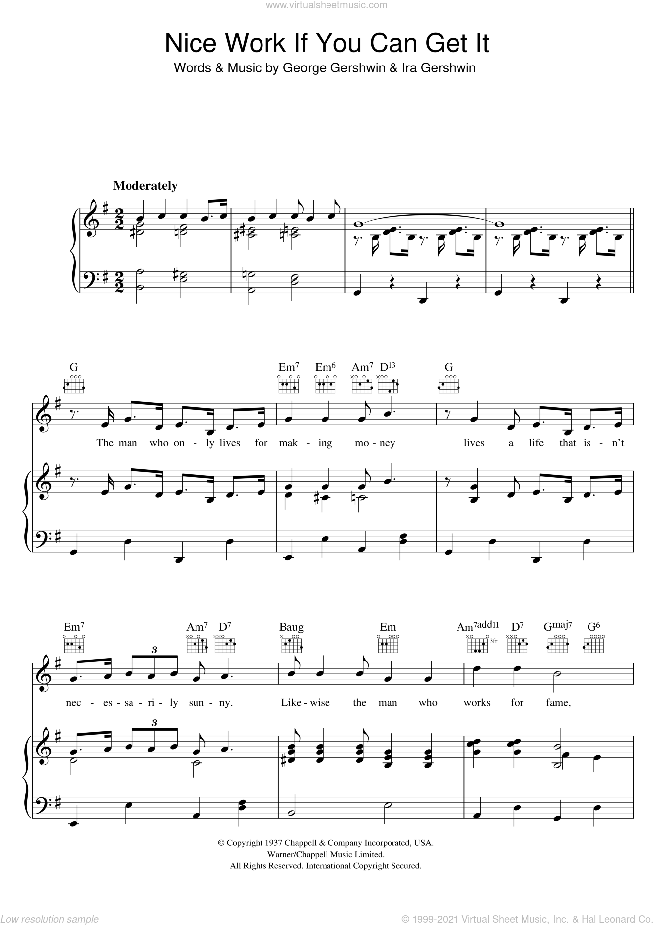 Nice Work If You Can Get It sheet music for voice, piano or guitar by George Gershwin and Ira Gershwin, intermediate skill level