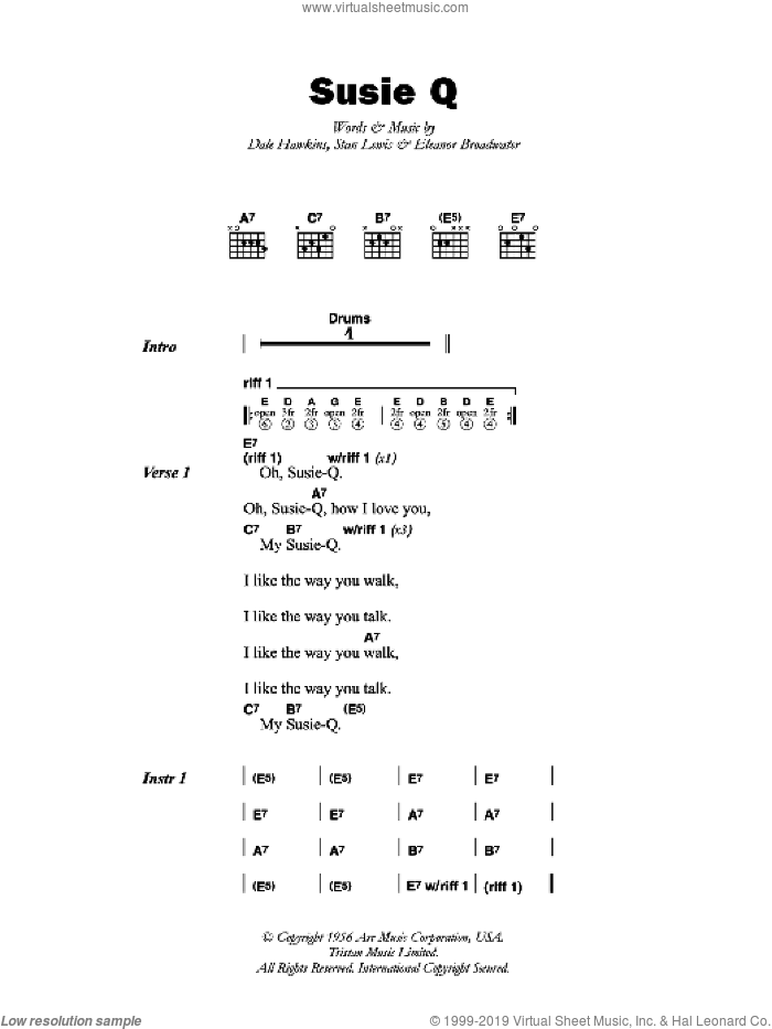 Susie Q sheet music for guitar (chords) by Eleanor Broadwater. Score Image Preview.