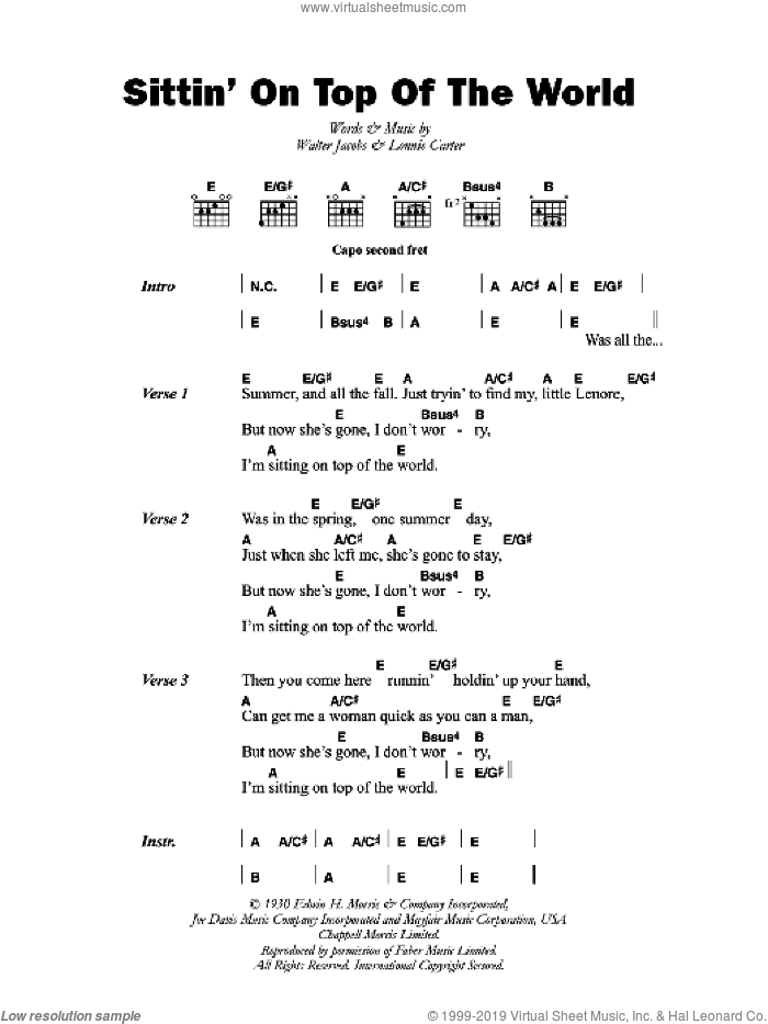 Sittin' On Top Of The World sheet music for guitar (chords) by Mississippi Sheiks, Bo Carter and Walter Jacobs, intermediate skill level