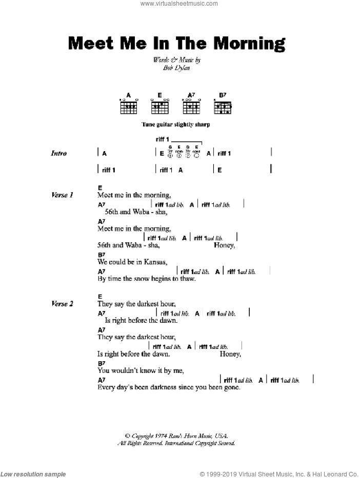 Meet Me In The Morning sheet music for guitar (chords) by Bob Dylan. Score Image Preview.