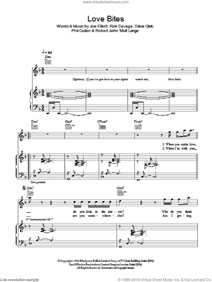 Love Bites sheet music for voice, piano or guitar by Joe Elliott, Def Leppard, Robert John Lange and Steve Clark. Score Image Preview.