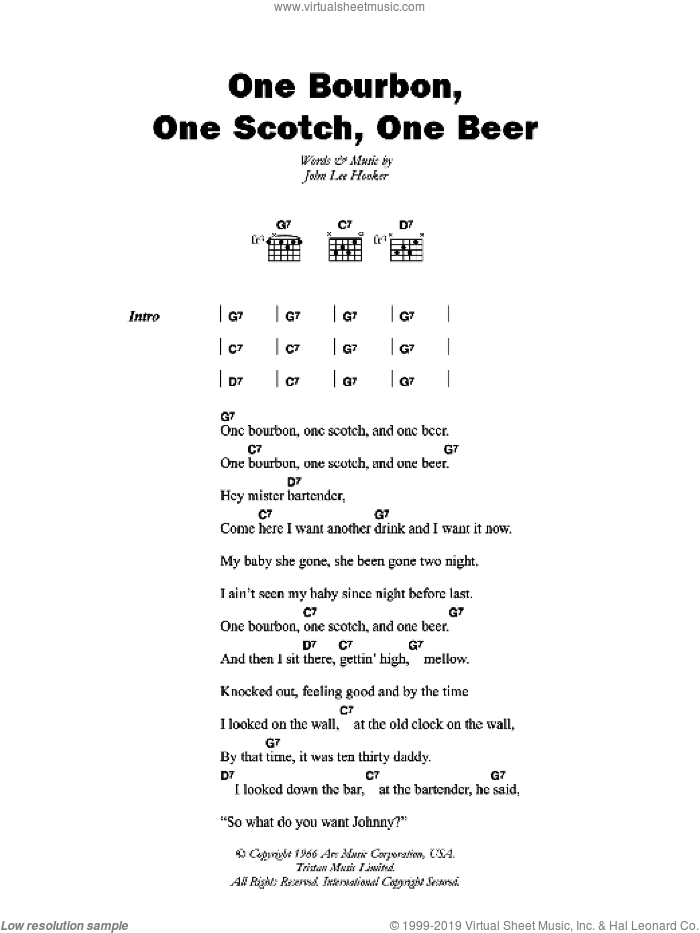 One Bourbon, One Scotch, One Beer sheet music for guitar (chords) by John Lee Hooker, intermediate skill level