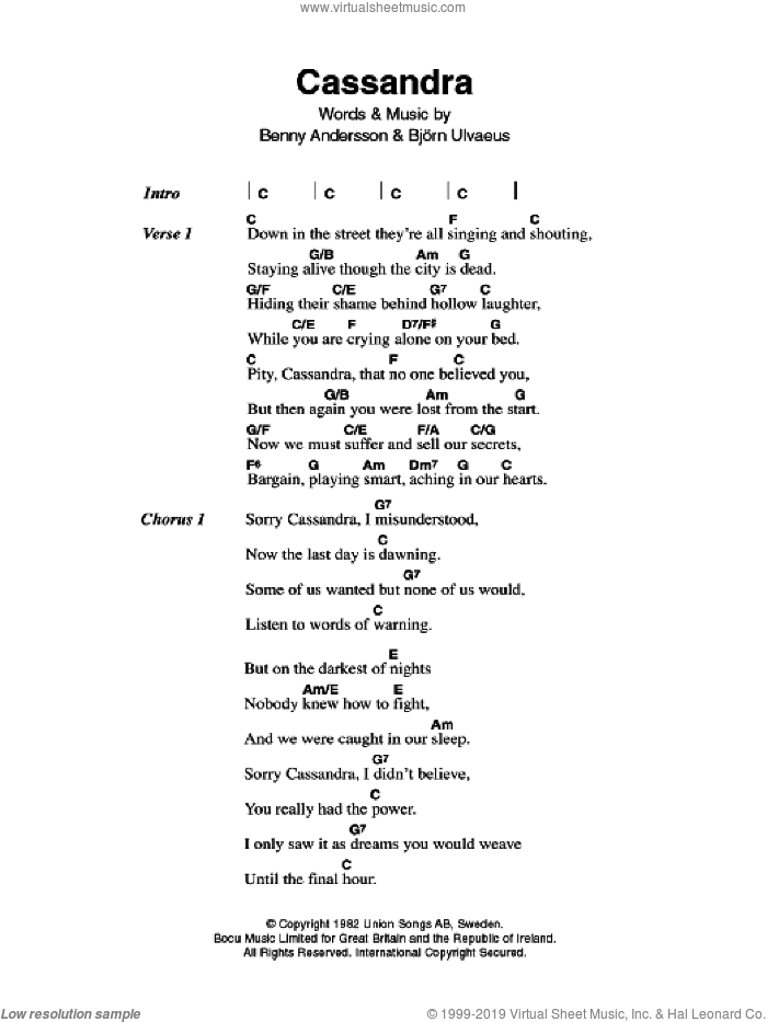 Cassandra sheet music for guitar (chords) by Benny Andersson