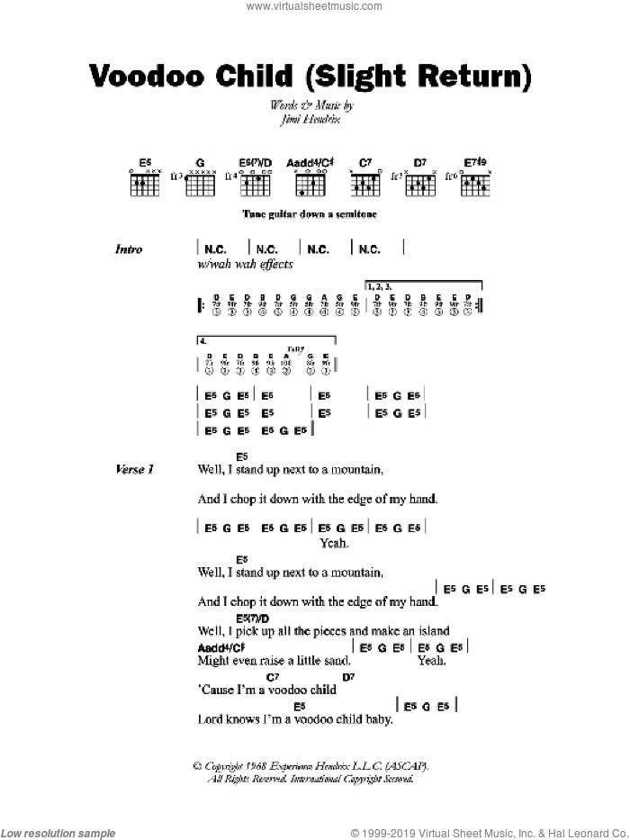 Voodoo Child (Slight Return) sheet music for guitar (chords) by Jimi Hendrix and Stevie Ray Vaughan, intermediate. Score Image Preview.