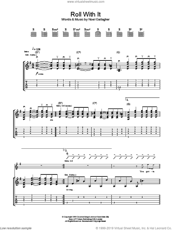 Roll With It sheet music for guitar (tablature) by Oasis and Noel Gallagher. Score Image Preview.