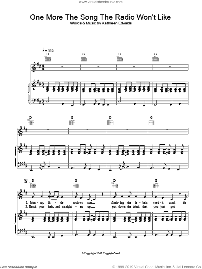 One More The Song The Radio Won't Like sheet music for voice, piano or guitar by Kathleen Edwards. Score Image Preview.
