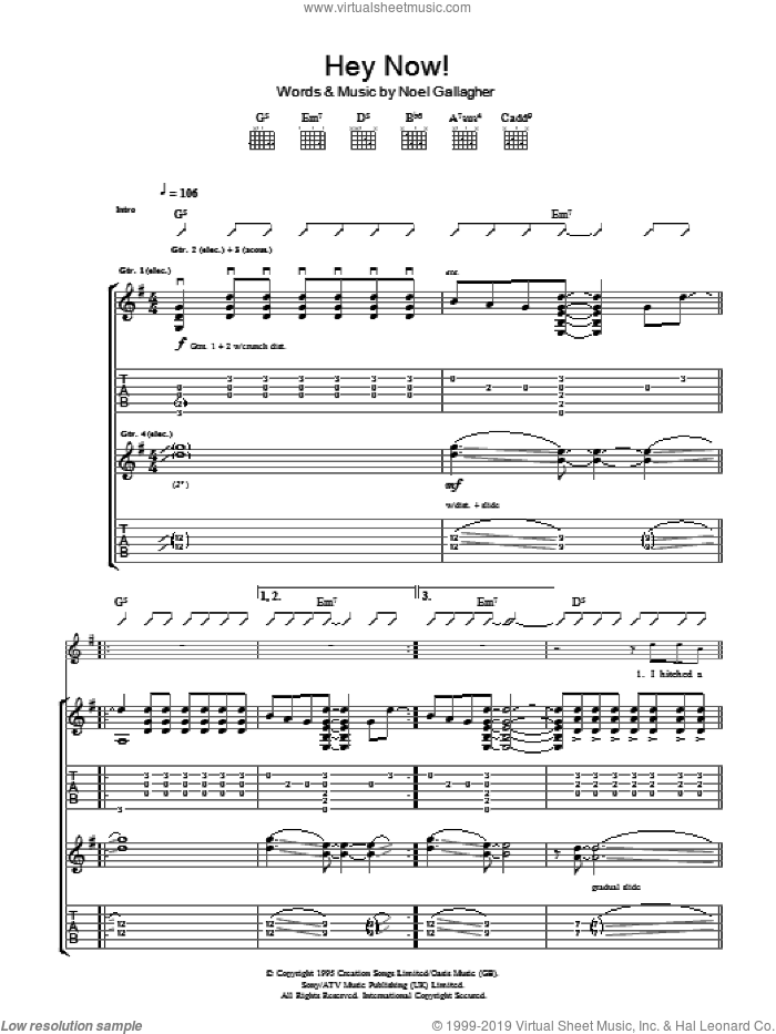 Hey Now sheet music for guitar (tablature) by Noel Gallagher