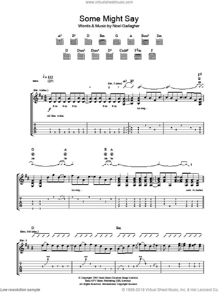 Some Might Say sheet music for guitar (tablature) by Oasis and Noel Gallagher. Score Image Preview.