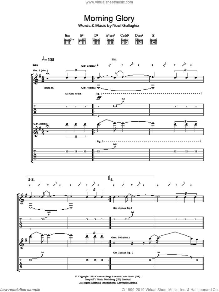 Morning Glory sheet music for guitar (tablature) by Noel Gallagher