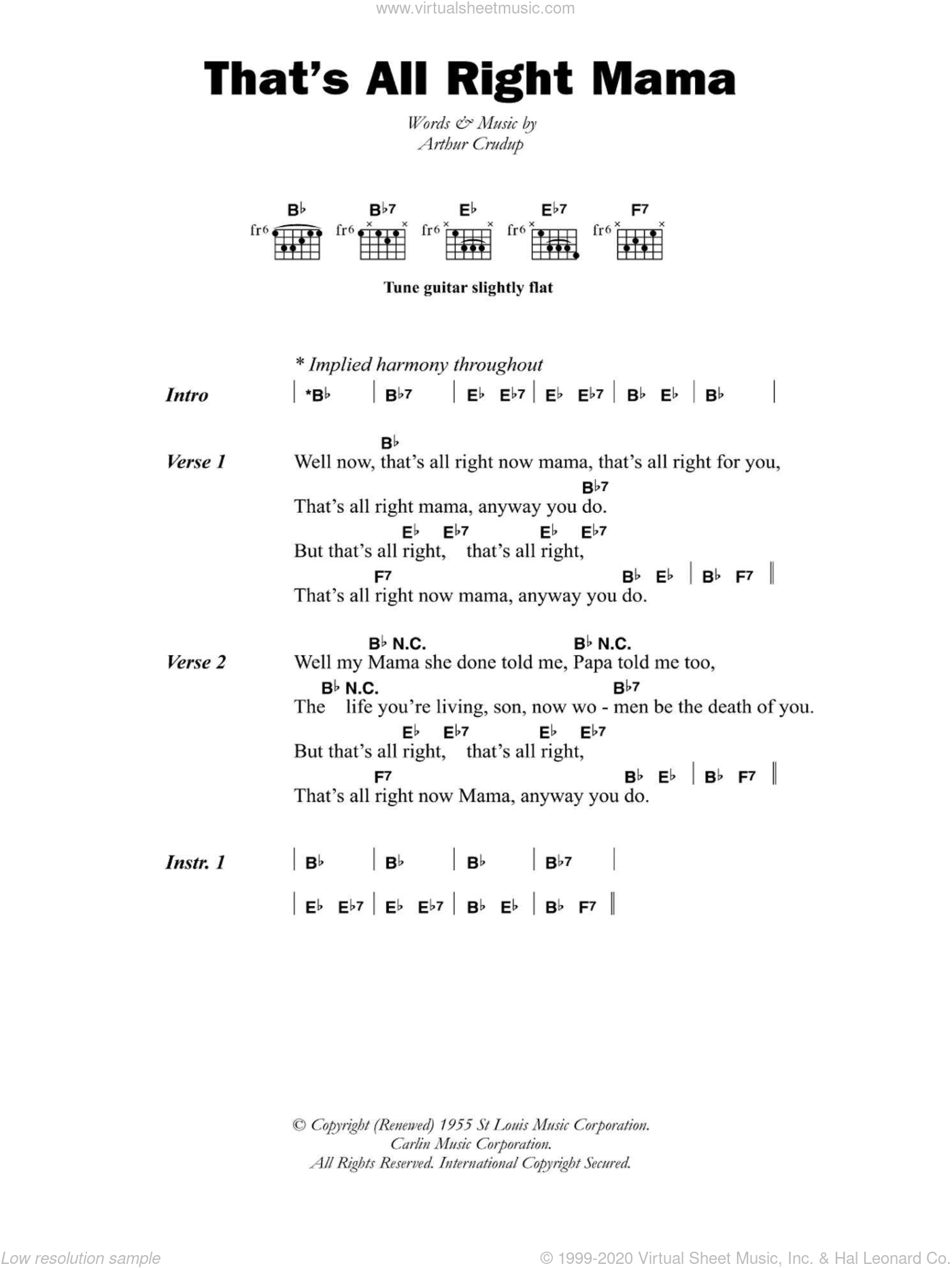 That's All Right Mama sheet music for guitar (chords) by Arthur Crudup, intermediate skill level