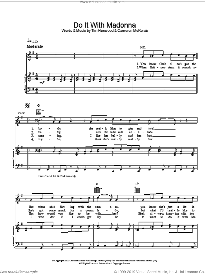 Do It With Madonna sheet music for voice, piano or guitar by The Androids