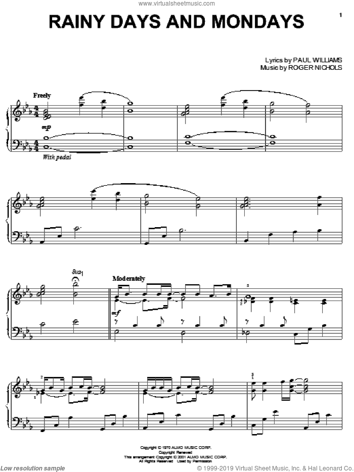 Rainy Days And Mondays sheet music for piano solo by Carpenters, Paul Williams and Roger Nichols, intermediate skill level